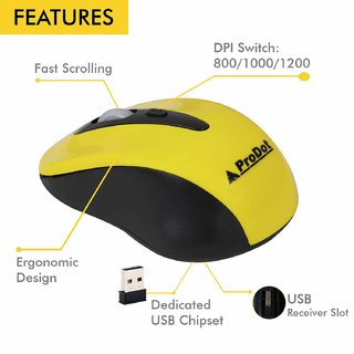 PRODOT WIRELESS MOUSE (BLACK ORGANGE YELLOW) Anti Virus Free for One year