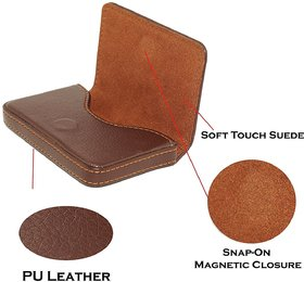 Evershine Gifts And Household Stylish Pocket Size Stitched Leather Visiting Card Holder For Keeping Business Card- Brown