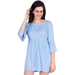 SBO Fashion Blue Color Rayon Trendy Women's Dress 5254Blue