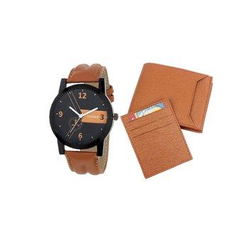 YGreen -Tan Color Wallet  Watch Gift Set For Men