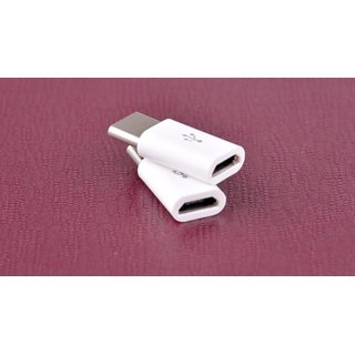 Combo of 2 Micro USB to USB Type C USB 3 1 Adapter For All Android Type C chargers