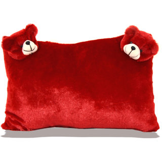 Planet of Toys Valentine 2 Face Soft Teddy Bear Pillow for Kids - Red ( 16x 10 inch )