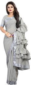 Pari Designerr  Grey Color Ruffle Saree With Blouse