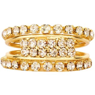 Valentines Day Special Gift American Diamond Combo of Adjustable Everyday Finger Rings for Girls
