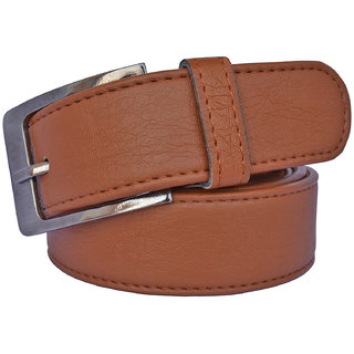 Sunshopping men's tan color Leatherite needle pin point buckle belt (Synthetic leather/Rexine)