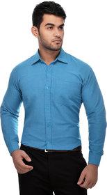 Khadio Men's Sky Blue Formal Shirts