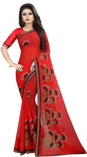 Pari Designerr Red Embroidered Georgette Saree With Blouse(SunFlowerRed)