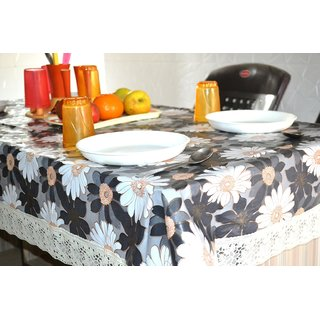 RSTC TABLE COVER 6 SEATER PVC ( BROWN , FLOWER DESIGN )