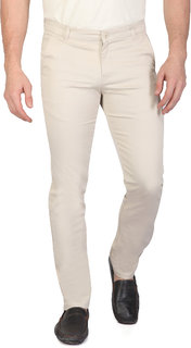 Ragzo Mens Beige Cotton slim Fit Casual Trouser