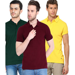 Ketex Pack Of Yellow, Maroon,Bottle Green Polo T-Shirts (Pack Of 3)