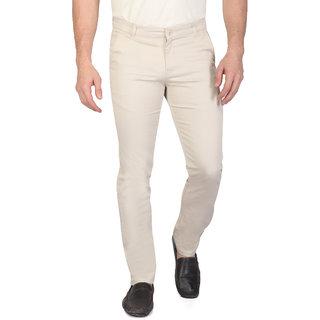 Ragzo Mens Beige Cotton slim Fit Casual Trouser