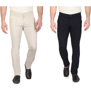 Ragzo Mens Multicolor Cotton Slim Fit Casual Trousers (Pack of 2)