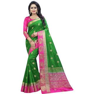 Saarah Green & Pink Kanchipuram Silk Saree