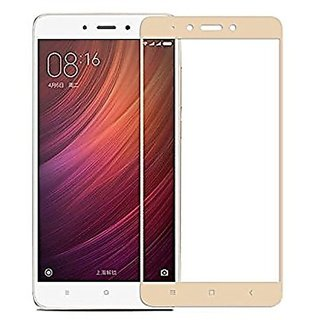 Tempered Glass For Redmi 4 Full Screen Golden Colour Standard Quality