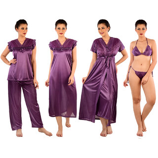 Senslife Women Purple Satin Nightwear 6pc Set (1 Nighty, 1 Robe, 1 Top, 1 Pyjama, 1 Bra, 1 Thong)