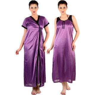 Senslife Women Purple Satin Nightwear 2pc Set (1 Nighty, 1 Robe)