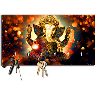 Studio Shubham ganesh ji wooden key holder(23.4cmx12.8cmx3cm)