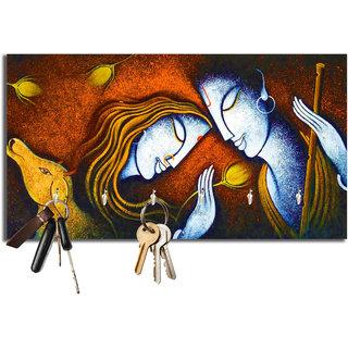 Studio Shubham radha krishna colorful wooden key holder(23.4cmx12.8cmx3cm)