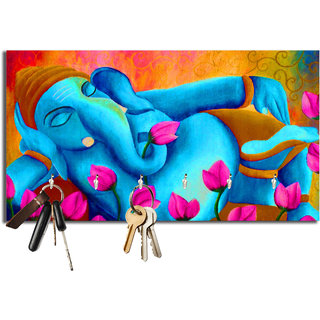 Studio Shubham floral ganesh colorful wooden key holder(23.4cmx12.8cmx3cm)