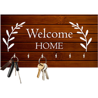 Studio Shubham Welcome home wooden key holder(23.4cmx12.8cmx3cm)