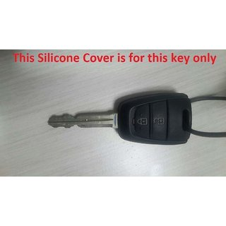 Delhi Traderss WV01RCA08036 Silicone Key Cover for Hyundai Grand I10 2 Button Remote Key (Black)