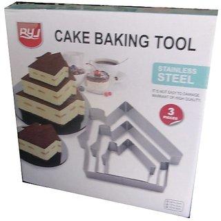 Evershine Stainless Steel 3 Sizes Home Shape Molding Cake Baking Rings, Set of 3-/Small- 9.58.54.5cm/ Medium-1413.