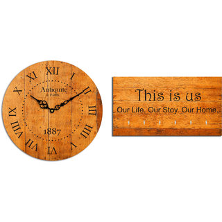 Studio Shubham combo of Vintage Wooden Wall Clock &  This is us key holder