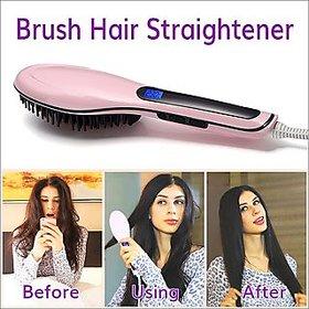 HQT-906 Fast Hot Hair Straightener Comb Brush Lcd Screen Flat Iron Styling