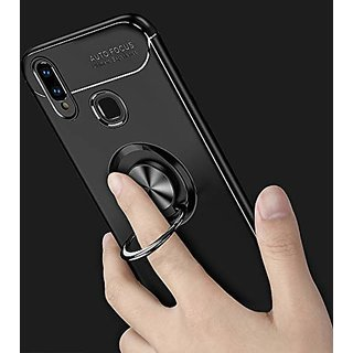 DELHITRADERSS Rubberized Back Case Cover with Beautiful Ring Stand for Huawei Honor 8X (Ring Black)