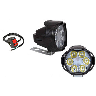 Spidy Moto 10W SPOT 6 LED Transformer Bumble Bee Style Bike Fog Light Lamp with On Off Switch