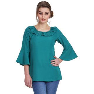 MALLORY WINSTON Women Solid Green Raffle top.(MW212
