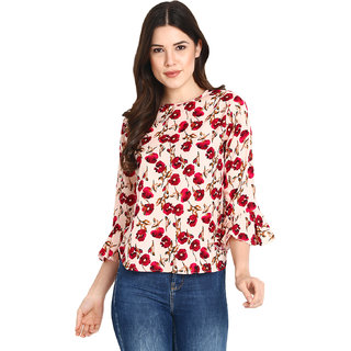 Jollify Women's Polyster RedRose Color  Top