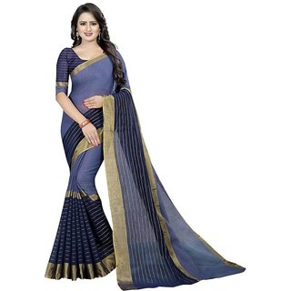 Indian Style Sarees New Arrivals Latest Women's Blue Chanderi Lining Cotton Sarees With Blouse Bollywood Designer Saree