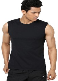 Aarmy fit mens round neck black sleeveless  tshirt
