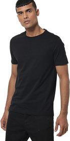 Aarmy fit mens round neck black half sleeve cotton black    tshirt