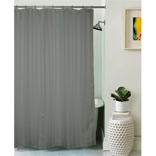 Lushomes Unidyed Grey Violet Polyester Shower Curtain with 12 Plastic Eyelets Size: 72x80 inches (single pc)