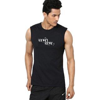 Aarmy fit mens round neck black sleeveless namo tshirt