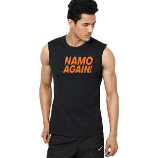 Aarmy fit mens round neck black sleeveless namo tshirt