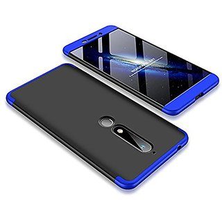 3 in 1 360 Full Body Slim Fit Protection Hybrid Hard Back Cover for Nokia 6.1 - Blue