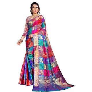 Jay Fashion self design chekered heavy zari work banarasi silk saree with blouse