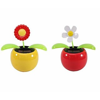 DELHITRADERSS Set of 2 Dancing Flowers Daisy in Red Pot Solar Toy Flowers Car Dashboard Office Desk Home Dcor