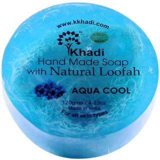 Khadi Aqua Cool Handmade Loofah Soap-125 Gm (Pack Of 6)