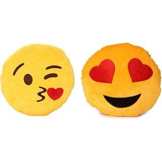nerr emoji smiley Decorative Cushion Pack of 2 (Yellow)