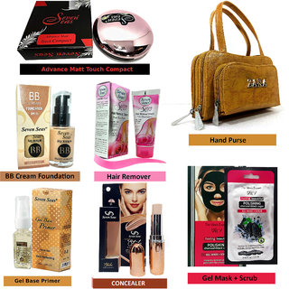 indiaglee Combo Makeup Sets of 7 PCs  Matt Touch Compact, BB Cream Foundation, Concealer Panstick, Gel Base Primer, Charcoal Gel Mask, Hair Remover, Hand Purse
