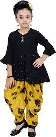 Arshia Fashions Girls Party Wear Kurti And Dhoti Salwar Set - Yellow