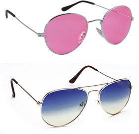 Derry Combo Of Pink Oval And Blue Aviator Sunglasses