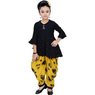 Arshia Fashions Girls Party Wear Kurti And Dhoti Salwar Set - Yellow