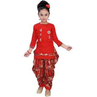 Arshia Fashions Girls Party Wear Kurti And Dhoti Salwar Set