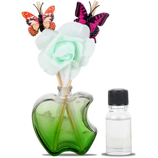 Arythe Beautiful Gift Rose in Apple Cut Glass Pot Stand Light Green Color in Beautiful Packing for Your Loved One for Valentine Or Any Other Gift