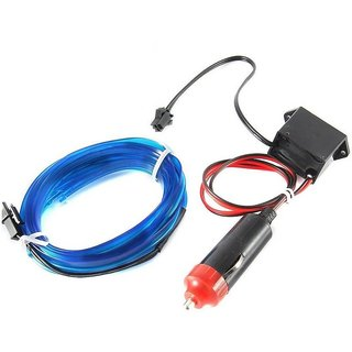 Cold Light Line EL Wire Blue Color 5 Meters Car Interior Decoration (Works With All Cars) Car Fancy Lights  (Blue)